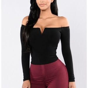 XS Black Off the Shoulder Top